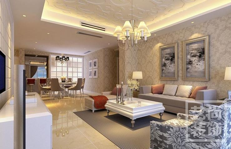 正商城三室两厅装修效果图 120平方三室两厅现代简约样板间装修案例